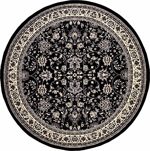 A2Z Rug 8-Feet-Round Covent Garden Persian Traditional Design Rug, Black (Furniture Designer Luxury Outdoor)