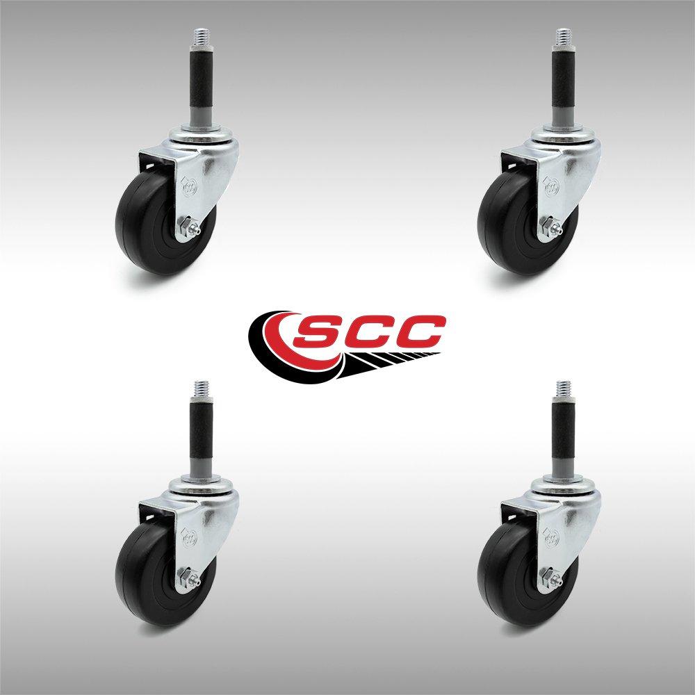 "SCC 3/"" x 1.25/"" Hard Rubber Wheel Caster w//3//4/"" Expanding Stem Set of 4"
