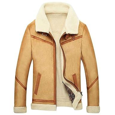 Chaqueta de cuero de los invierno masculino Abrigo de piel de oveja, khaki, xxl: Amazon.es: Ropa y accesorios