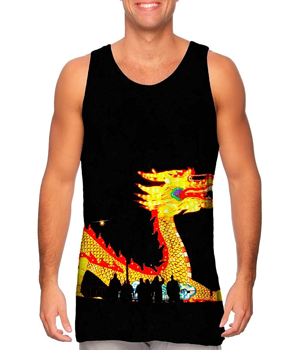 Yizzam Mens Tank Top China Festival of Lights Dragon Tshirt
