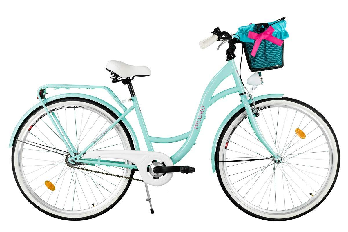 Damenfahrrad 3-Gang Milord Hollandrad Aqua Blau 28 Zoll 2018 Komfort Fahrrad mit Korb