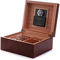 MEGACRA Desktop Cigar Humidor, Cedar & Leather Cigar Storage Box Well Seal Design with Tray and Adjustable Divider, Glass Hygrometer and Rectangle Humidifier, Holds 25-50 Cigars