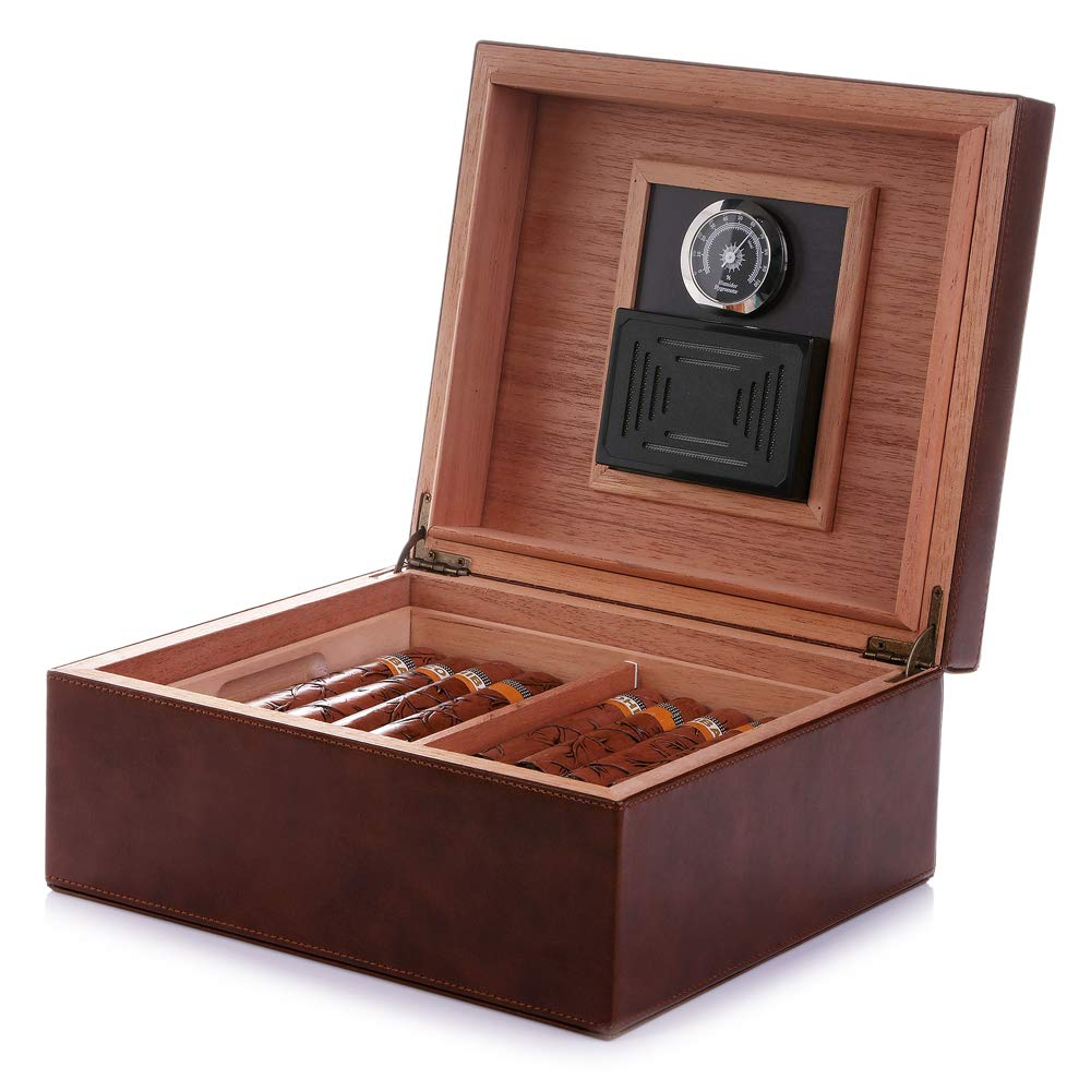 MEGACRA Desktop Cigar Humidor, Cedar & Leather Cigar Storage Box Well Seal Design with Tray and Adjustable Divider, Glass Hygrometer and Rectangle Humidifier, Holds 25-50 Cigars by MEGACRA