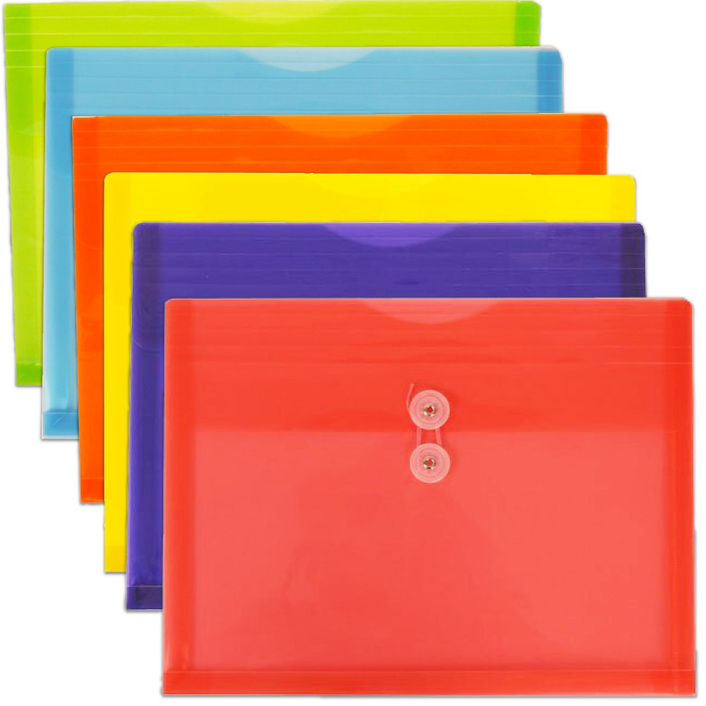 JAM Paper Plastic Envelope with Button and String Tie Closure - Letter Booklet - 9 3/4'' x 13'' - Assorted - 6/pack by JAM Paper (Image #9)