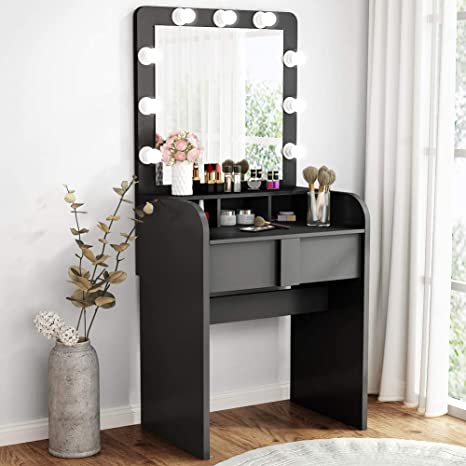 Tribesigns Vanity Table Set with Lighted Mirror, Makeup Vanity Dressing  Table with 9 Cool Light Bulb, Modern Dressing Table Dresser Desk with  Drawers ...
