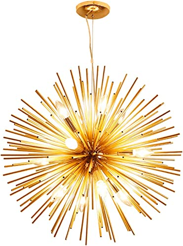 Nordic Artistic LED Aluminum Dandelion Chandelier Golden Hanging Lamps Decorative Fixture Lighting Led Home Lights Dia 29.5-Inch