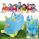 KOS GROUP® Kinderkoffer Gepäckset für Reise Pedalekoffer mit Rädern Ride-on Suitcase 18 Liter Blau Rot