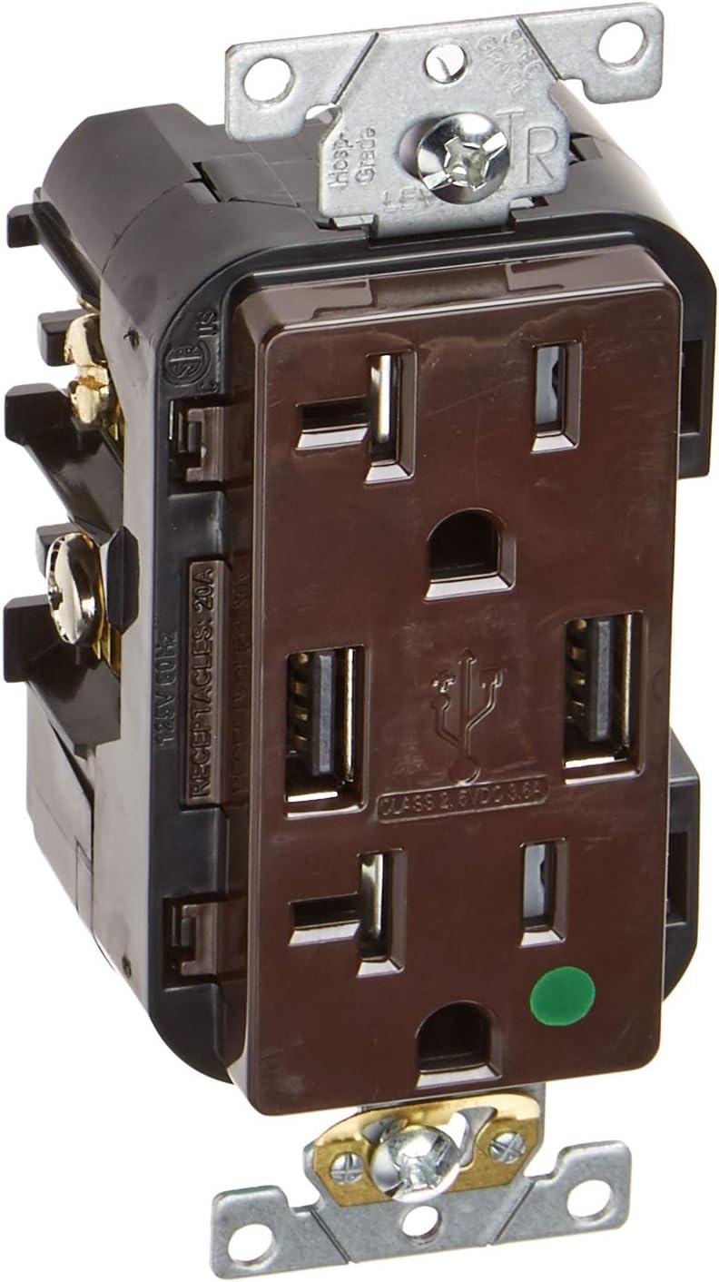 Leviton T5832-HG 20-Amp Hospital Grade USB Charger/Tamper-Resistant Duplex Receptacle, Brown
