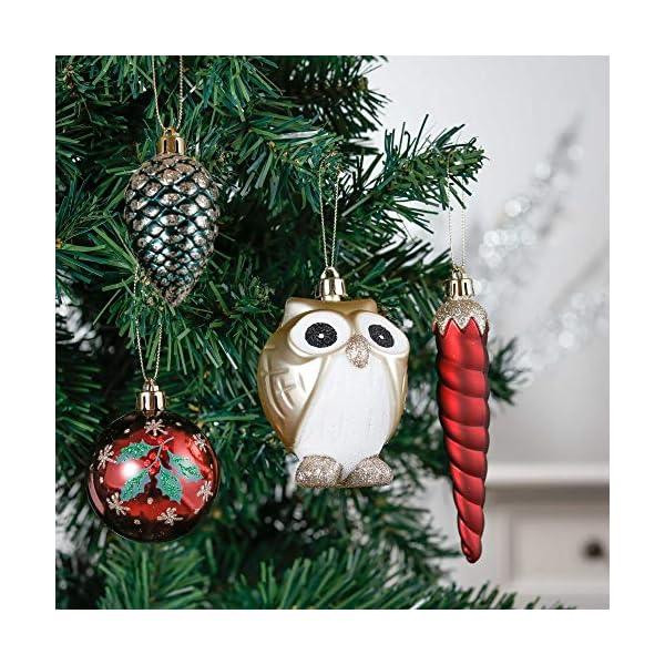 Valery Madelyn Palle di Natale 90 Pezzi di Palline di Natale, 3-13 cm di Strada di Campagna Rosso Verde e Oro Infrangibile Ornamenti di Palla di Natale Decorazione per la Decorazione 4 spesavip