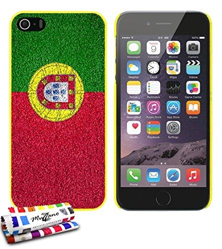 Ultraflache weiche Schutzhülle APPLE IPHONE 5S / IPHONE SE [Portugal Flagge ] [Gelb] von MUZZANO + STIFT und MICROFASERTUCH MUZZANO® GRATIS - Das ULTIMATIVE, ELEGANTE UND LANGLEBIGE Schutz-Case für Ih