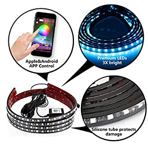 DITRIO 4Pcs Car LED Underglow/Underdash/Glow/Undercar Lights Kit, Interior Dash Lights Strip, RGB Multicolor Neon Underbody System Lights With APP BT for iPhone Android (Pack of 4)