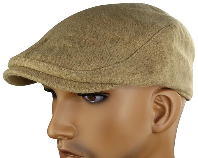 MINAKOLIFE Mens Womens Soft Wool Newsboy Hat Flat Cap Ivy Stretch Driver  Hunting Hat Beige 6cdaa6858fbd