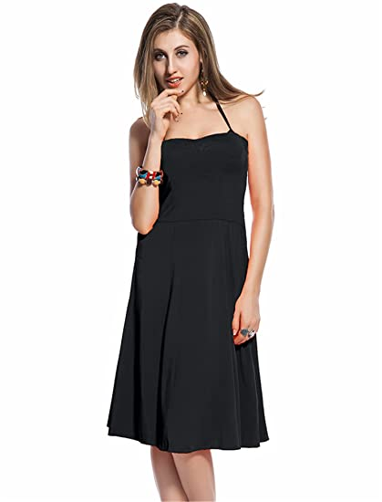 554d3b56ef ohyeah Women's Super Sale Fit and Flare Solid Comfortable Beach Dress Black  One Size at Amazon Women's Clothing store: