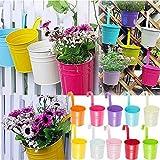 KINGLAKE 10 Pcs Metal Iron Hanging Flower Plant Pots Balcony Garden Plant Planter Baskets Fence Bucket Pots Flower Holders with Detachable Hook