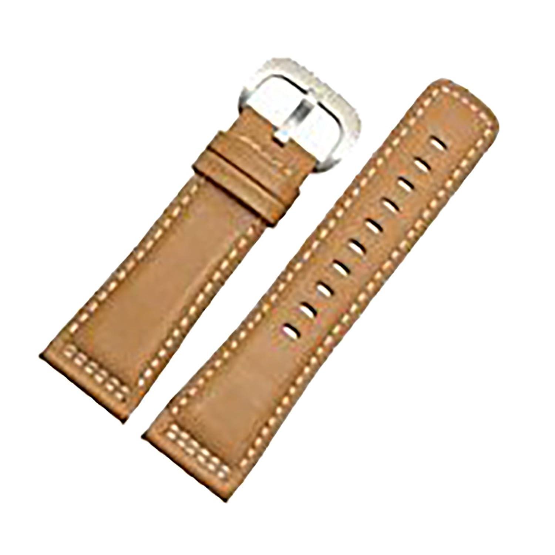 [エイト]腕時計ベルト 28mm ブラウンホワイト-ステンレス尾錠 レザー ELB086 [並行輸入品]  B01N4D4EJR