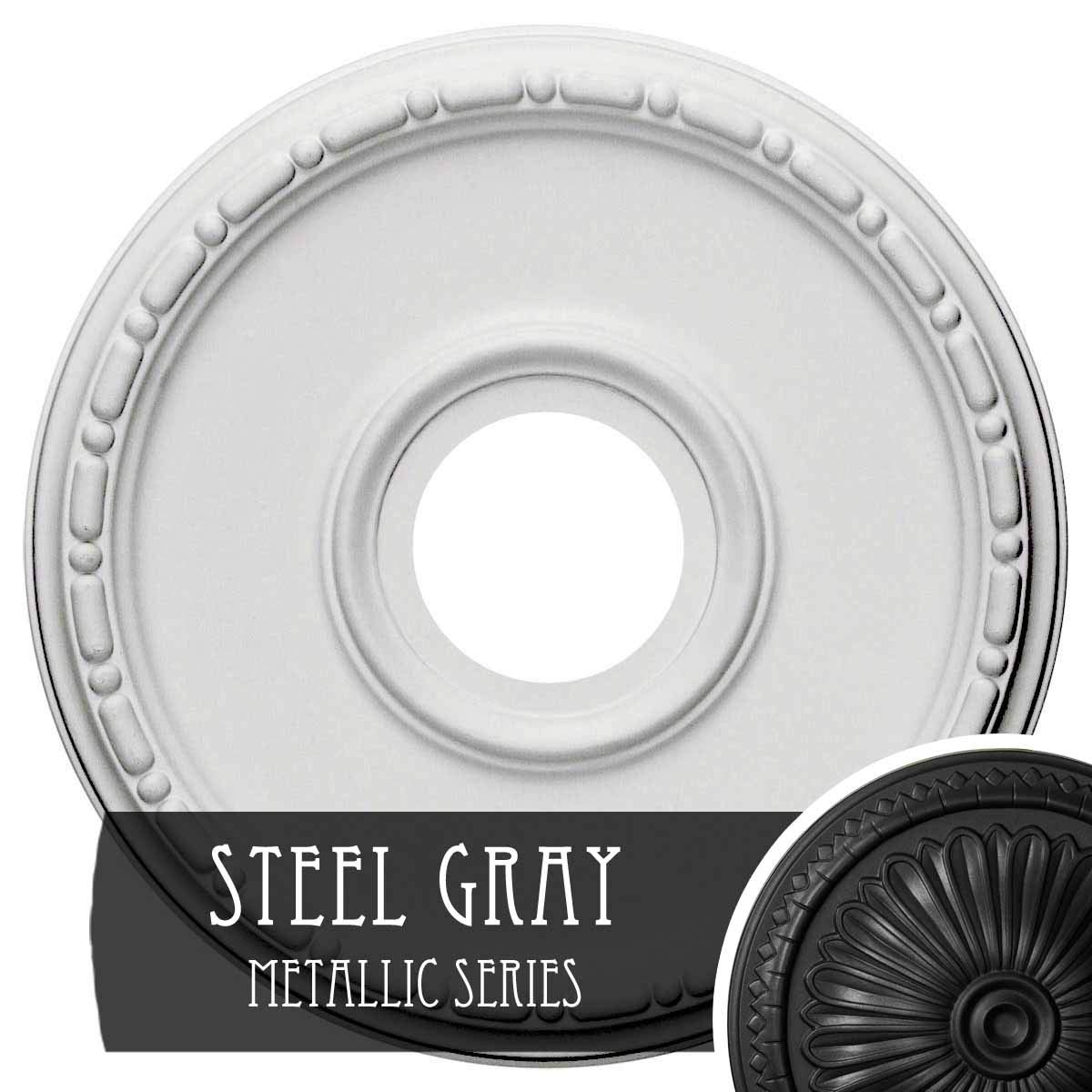 Ekena Millwork CM16MESGS 16 OD X 3 7/8'' ID X 1 1/2'' P Medea Ceiling Medallion fits Canopies up to 5 3/8'', Steel Gray