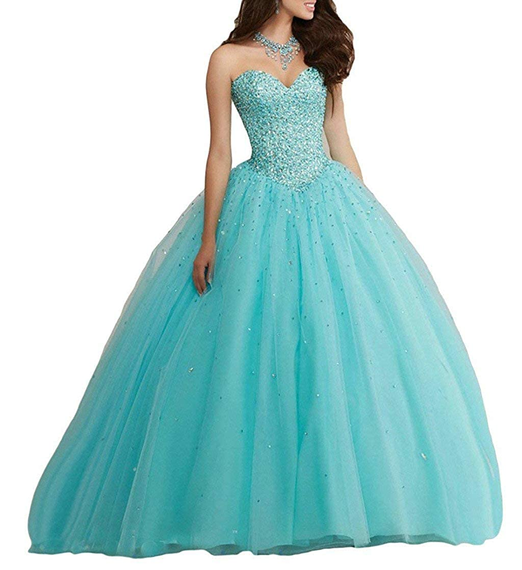 Turquoise Vantexi Women's Sweetheart Beading Tulle Quinceanera Dresses Formal Evening Prom Gowns