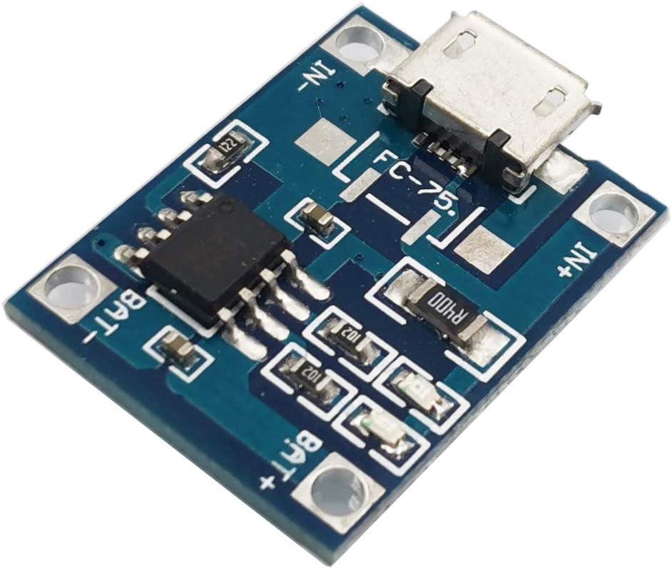 Greluma 10 Pcs Micro USB TP4056 5V 1A 18650 Lithium Battery Charging Board Lithium Battery Power Charger Board Charger Board Battery Charger Module