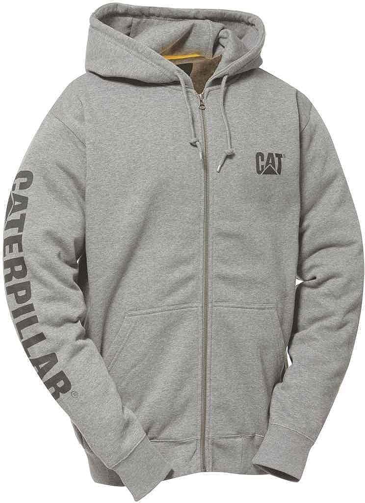 CAT Full Zip Hooded Sweatshirt Heather Grey W10840