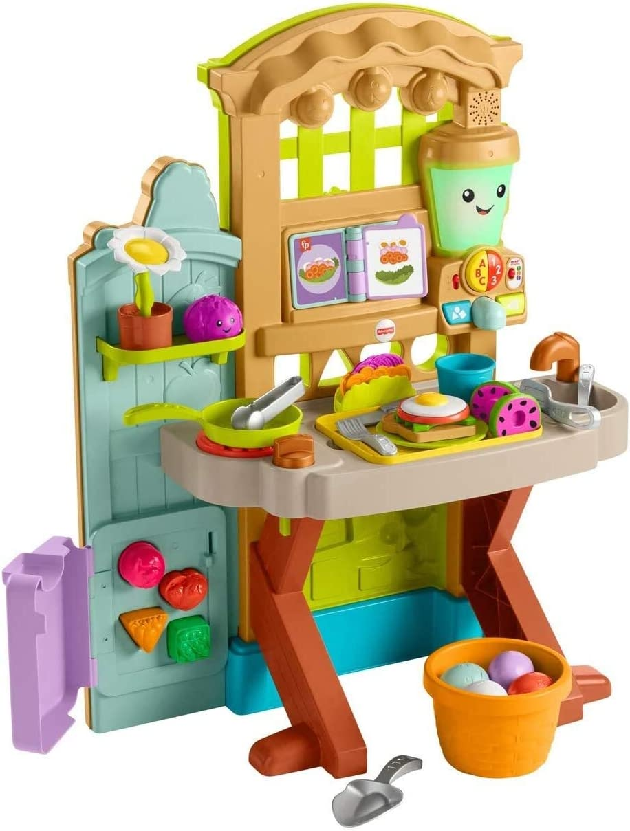 Amazon Com Fisher Price Laugh Learn Grow The Fun Garden To Kitchen Interactive Farm To Kitchen Playset For Toddlers With Music Lights And Learning Content Toys Games