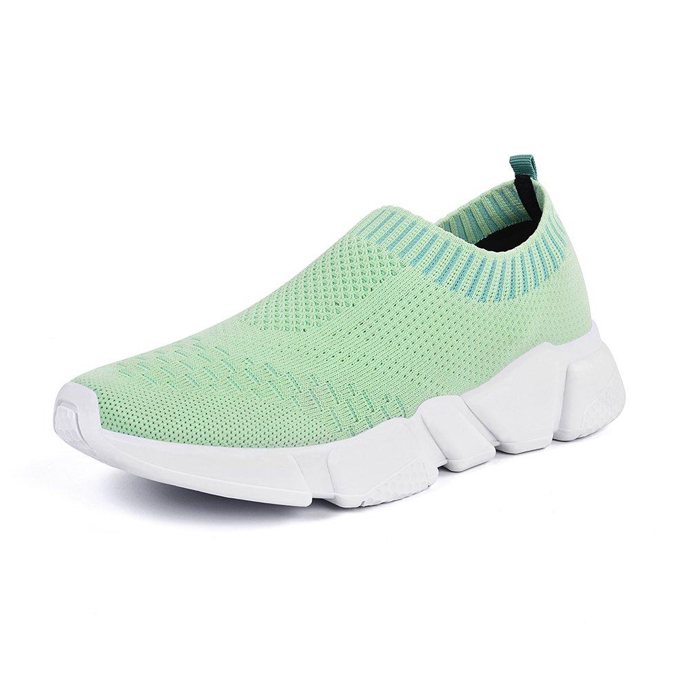 Mxson Women's Slip On Sneaker Mesh Loafer Casual Beach Street Sports Walking Shoes, Green, 8 B(M) US