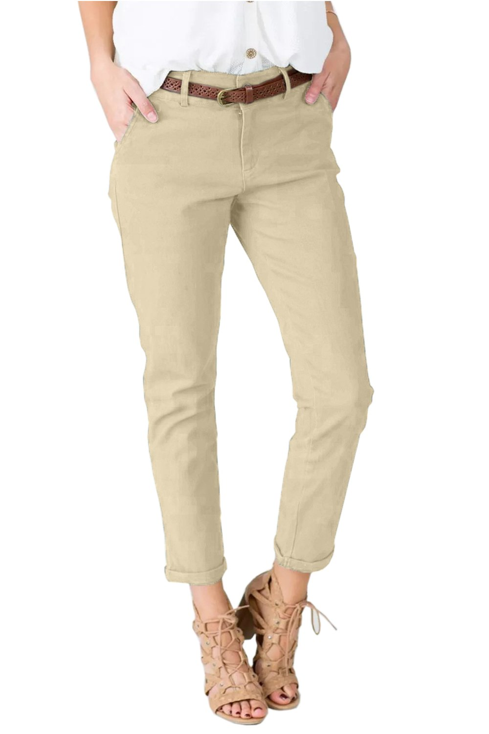 Women's Slimming Straight Leg Pants Casual Cropped Ankle  Trousers 3