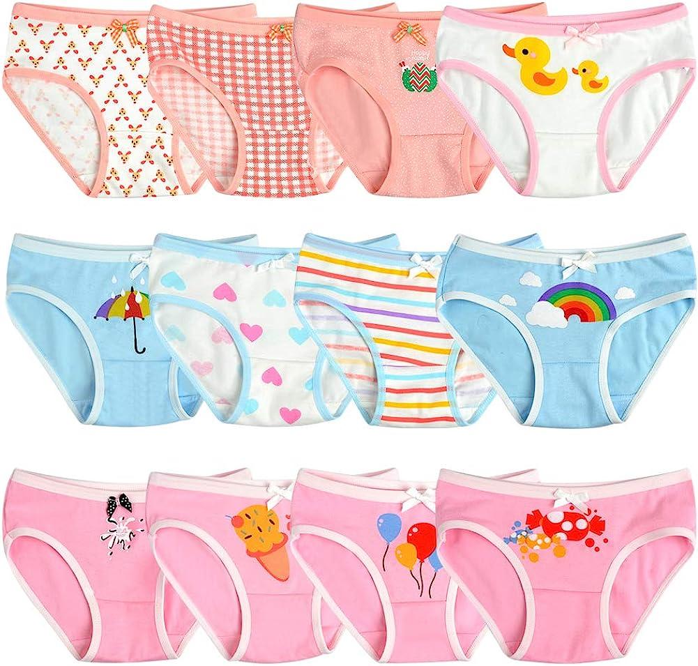 Closecret Toddler Soft Cotton Underwear Baby Panties Little Girls 12-Pack Assorted Briefs