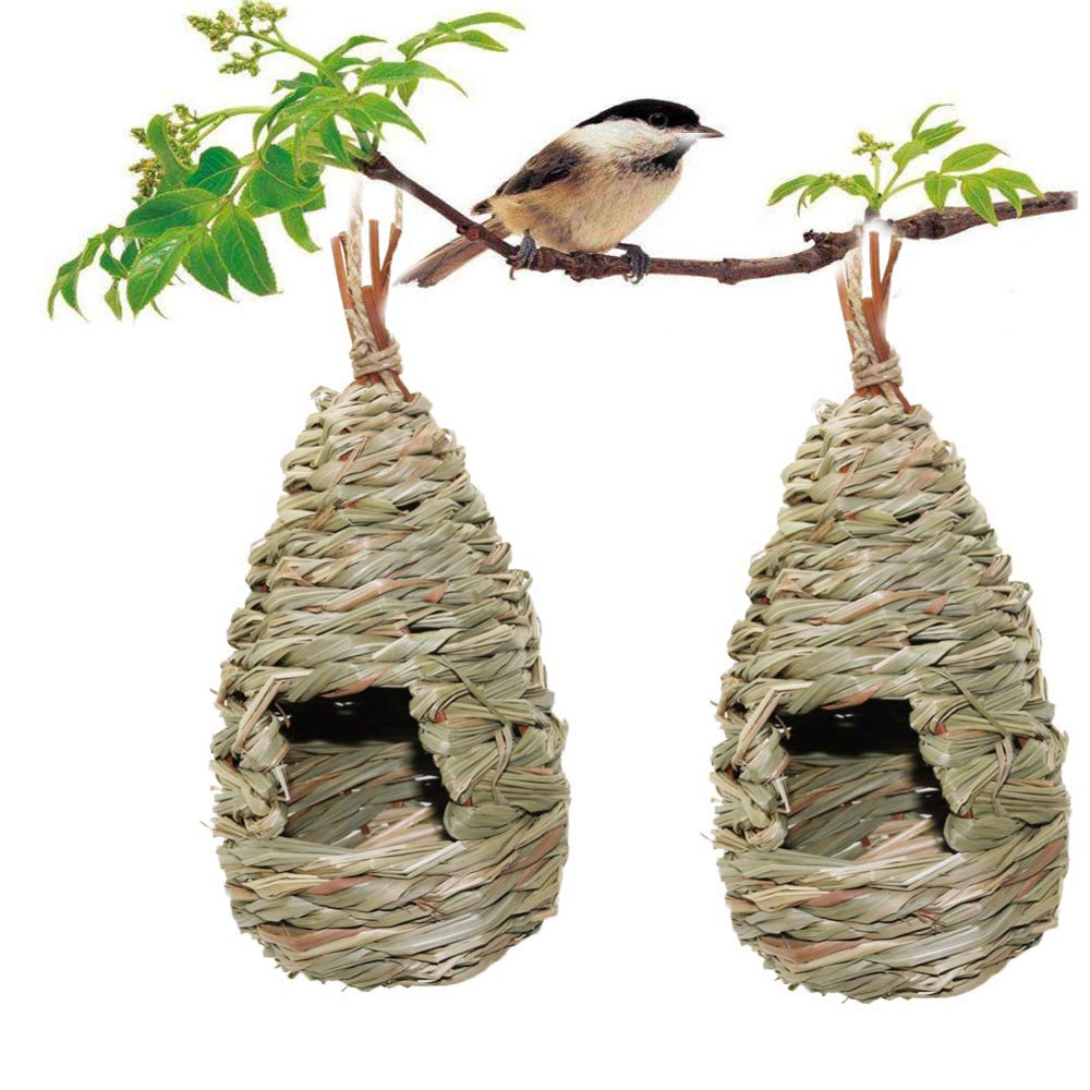 2 Pack Grass Bird Hut, Bird House, Hanging Birdhouse Hummingbird Nesting Chickadee House, Wren Nest Fiber Hand-Woven Bird House Roosting Pocket, Bird Hideaway Sparrow House for Finch & Canary