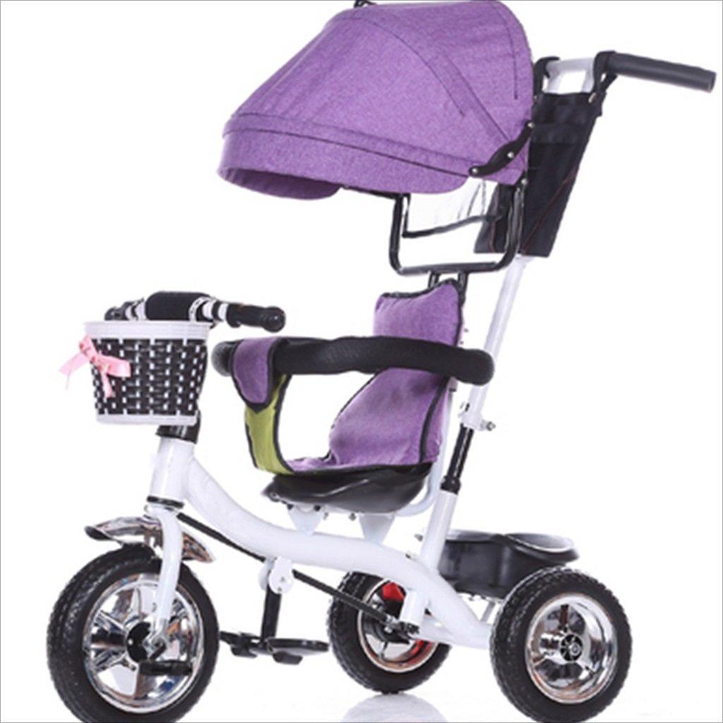 子供の屋内屋外の小さな三輪車自転車の男の子の自転車の自転車6ヶ月 6歳の赤ちゃんの3つのホイールトロリー天井、固体プラスチックホイール(パープル、ホワイト) B07DVD7HD5