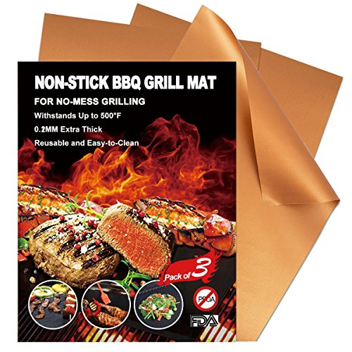 LEMONOO 3 Premium BBQ Copper Grill Mats Non-stick,No Mess,Dishwasher Safe grill mat/Perfect for grilling,baking & barbecue on gas,electric,and charcoal grills by LEMONOO