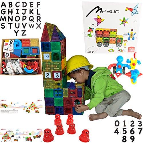 MABUA STRONG MAGNETIC 3D BUILDING ROBOTS BLOCK TILES 150 Pieces Set CLICKINS PUZZLE 26 ALPHABETS LETTERS 10 NUMBERS Construction Playboards - Creativity beyond Imagination Inspirational - Viejas Center