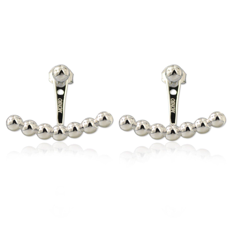 MONBO Sterling Silver Ear Jackets Earrings Chic Bead Ball Stud Ear Jackets Swing Front Back 2 in 1 Earring Cuff Set for Party Women Girl