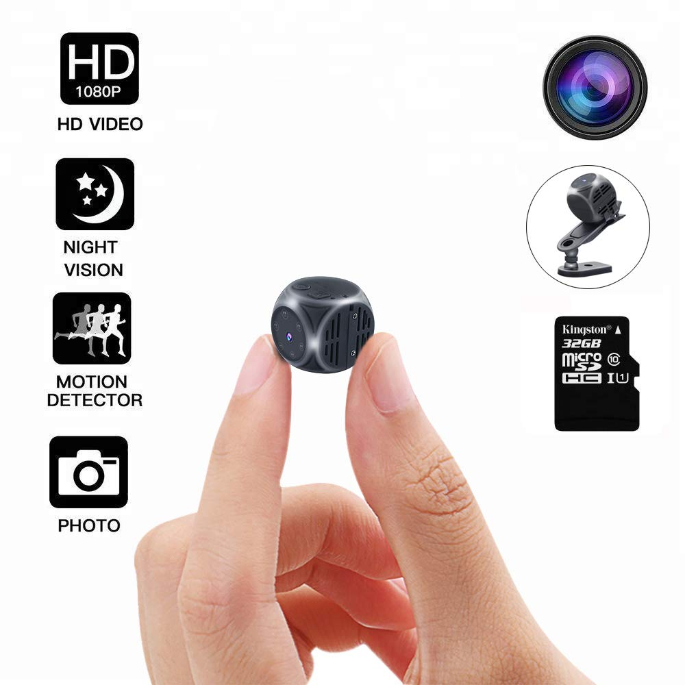 Mini Spy Camera Hidden,DEXILIO 1080P HD Small Portable Home Security Surveillance Camera,Covert Tiny Nanny Cam Video DV Recorder with Night Vision and Motion Detection Include 32GB Card