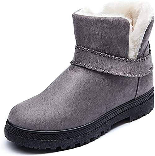 Womens Warm Fur Lined Ankle Boots Winter Outdoor Suede Snow Shoes Flat Booties