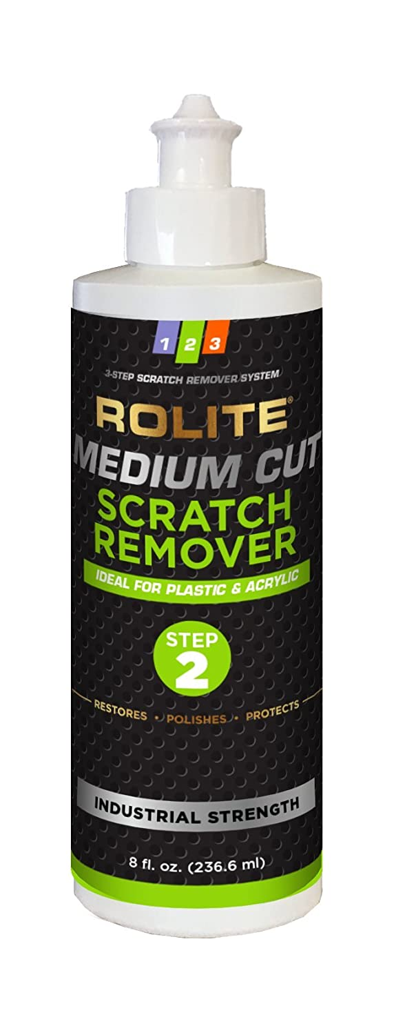 Rolite Medium Cut Scratch Remover (8 fl. oz.) for Plastic & Acrylic Surfaces Including Marine Strataglass & Eisenglass, Headlights, Aquariums