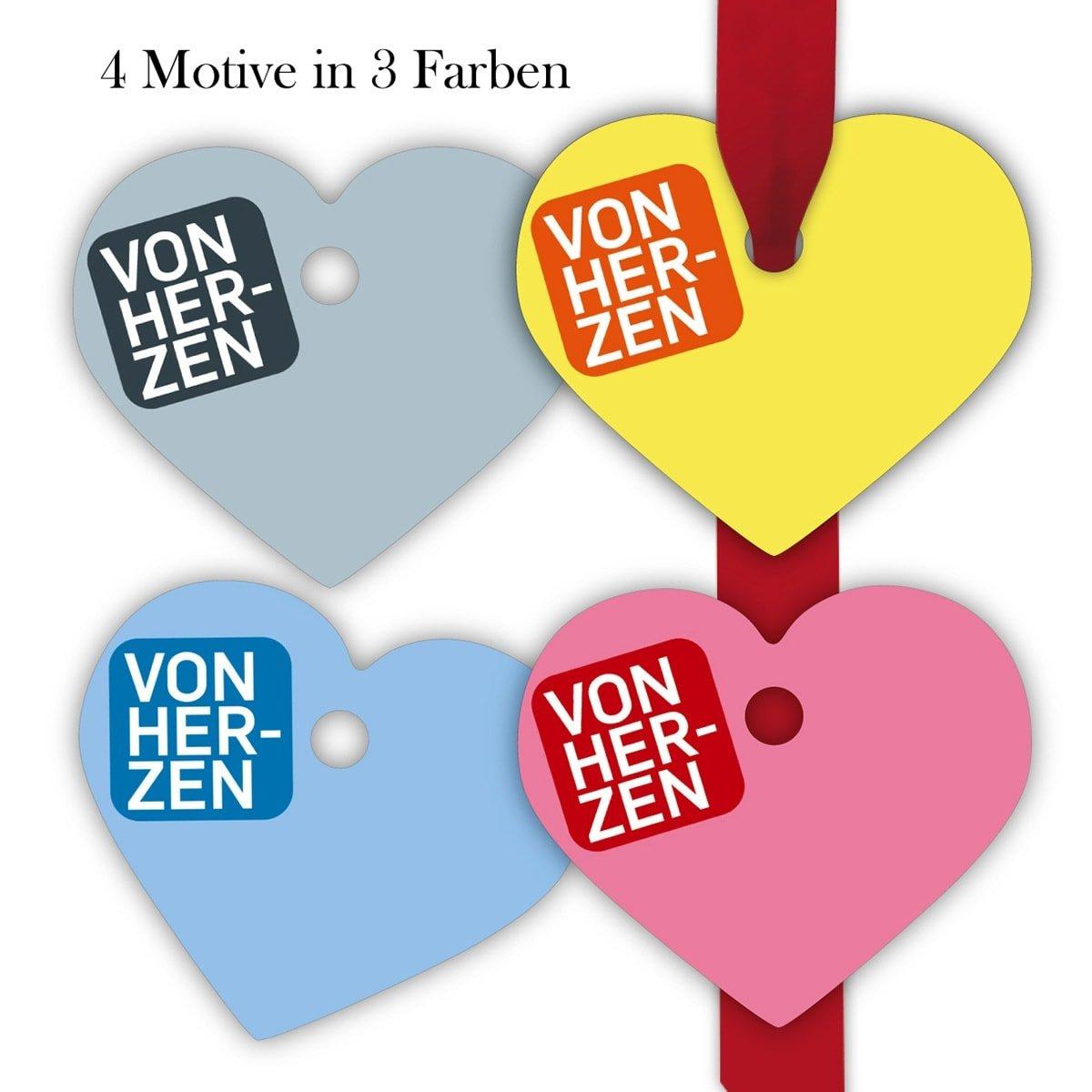 Kartenkaufrausch 10x12 farbige Geschenkanhänger | Geschenkkarten | Papieranhänger | Etiketten in Herz form 7 x 6cm : Von Herzen