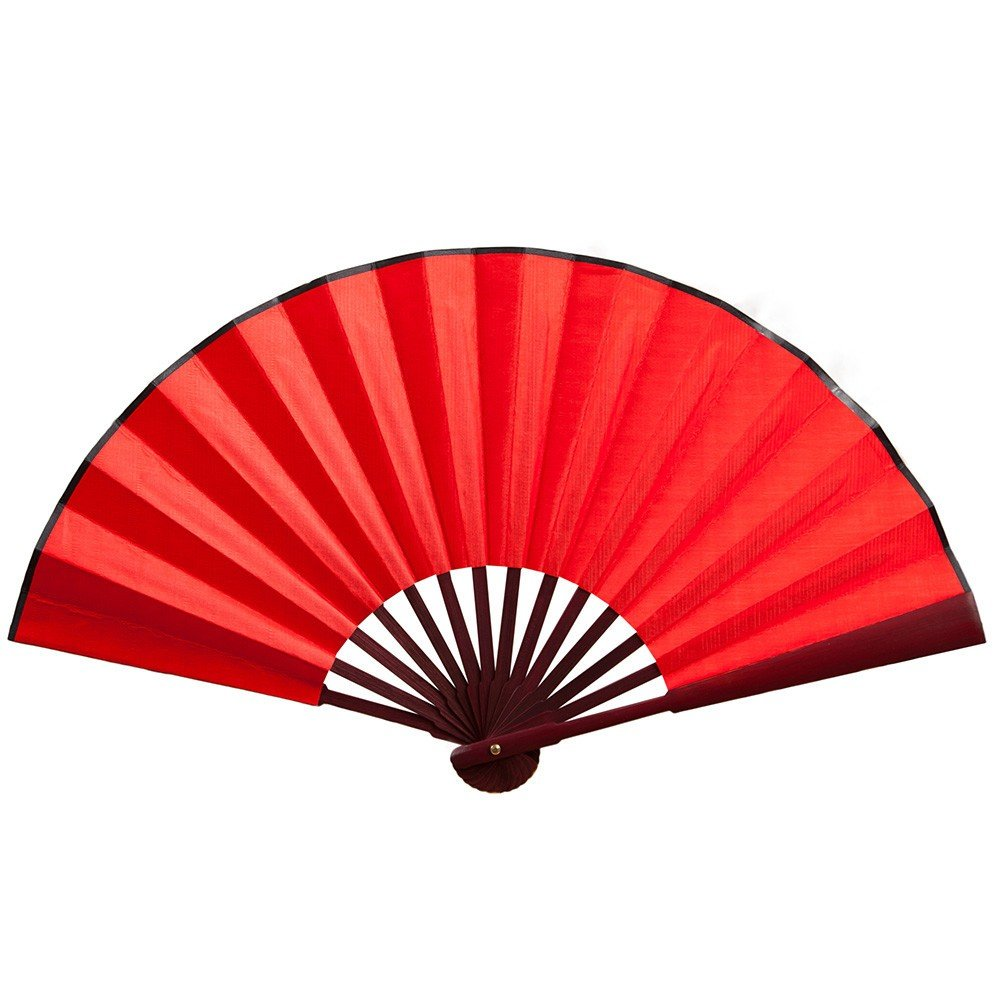 TADAMI Imitated Silk Fabric Bamboo Folded Hand Fan Bridal Dancing Props Church Wedding Gift Party Favors with Gift (Red)