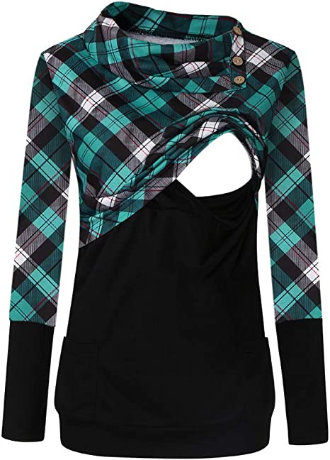 Maternity Clothes Plaids Breastfeeding shirts nursing Tops For Pregnant Women