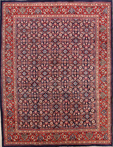 Area Rugs Navy Sarouk (Rug Source All-Over Floral Sarouk Hand Knotted Vintage Persian Area Rug 9x12 For Living Room (12' 5'' x 9' 6''))
