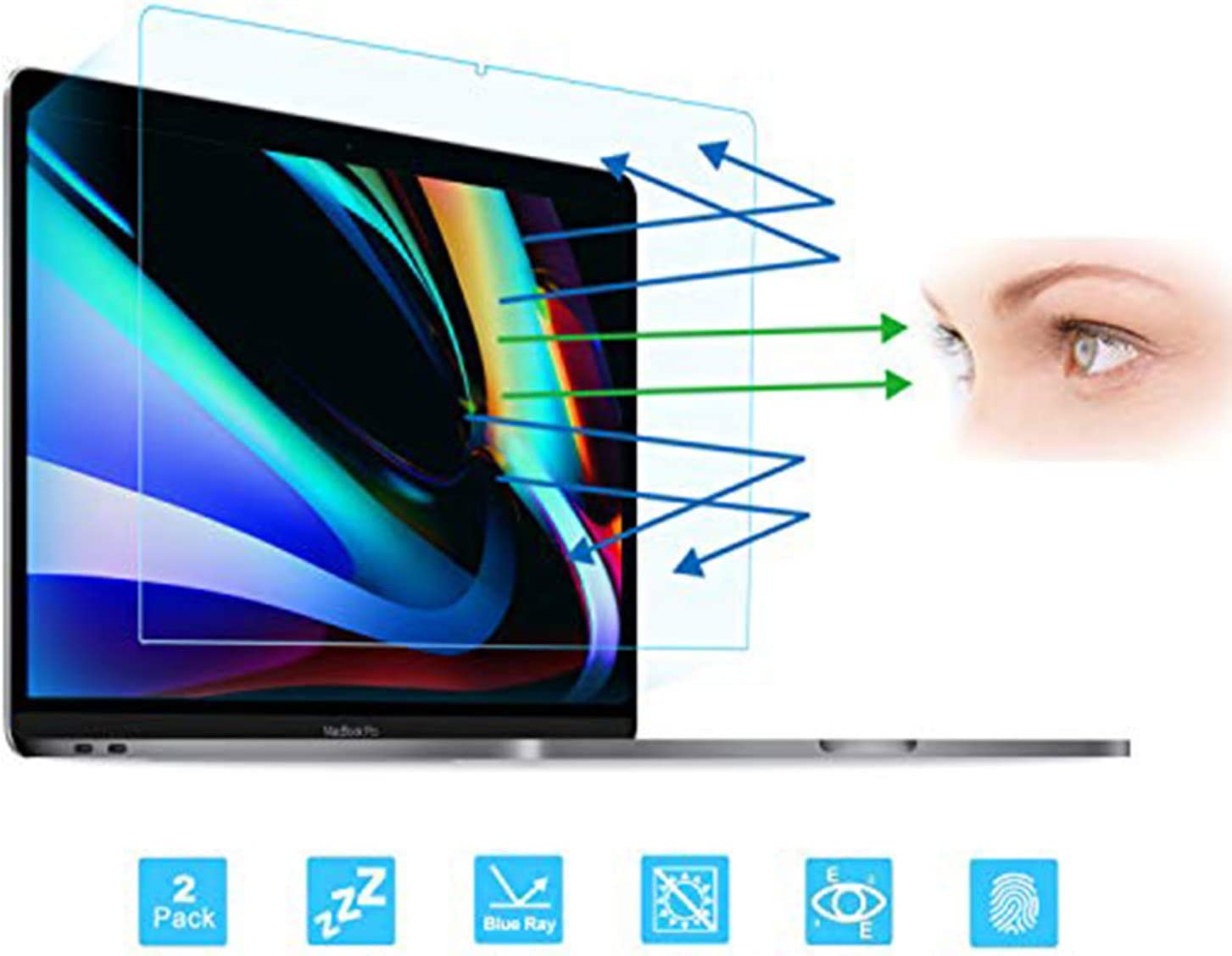 FORITO 2-Pack Compatible with MacBook Pro 16-Inch Screen Protector -Blue Light Filter, Eye Protection Blue Light Blocking Anti Glare Screen Protector for Apple MacBook Pro 16 Model A2141