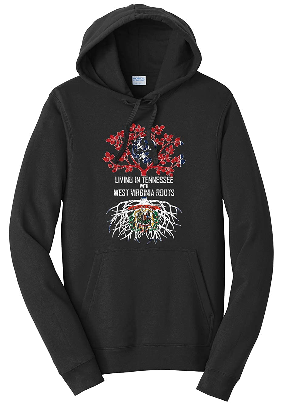 Tenacitee Unisex Living in Tennessee with West Virginia Roots Sweatshirt