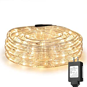 LE LED Rope Lights, 33 ft 240 LED, Low Voltage, Warm White, Waterproof, Connectable Clear Tube Indoor Outdoor Light Rope and String for Deck, Patio, Pool, Bedroom, Boat, Landscape Lighting and More
