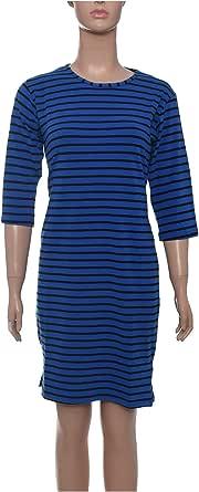 Daisy Striped Dress, Knee Length, Three Quarter Sleeve, Round Neck For Women, Blue Black