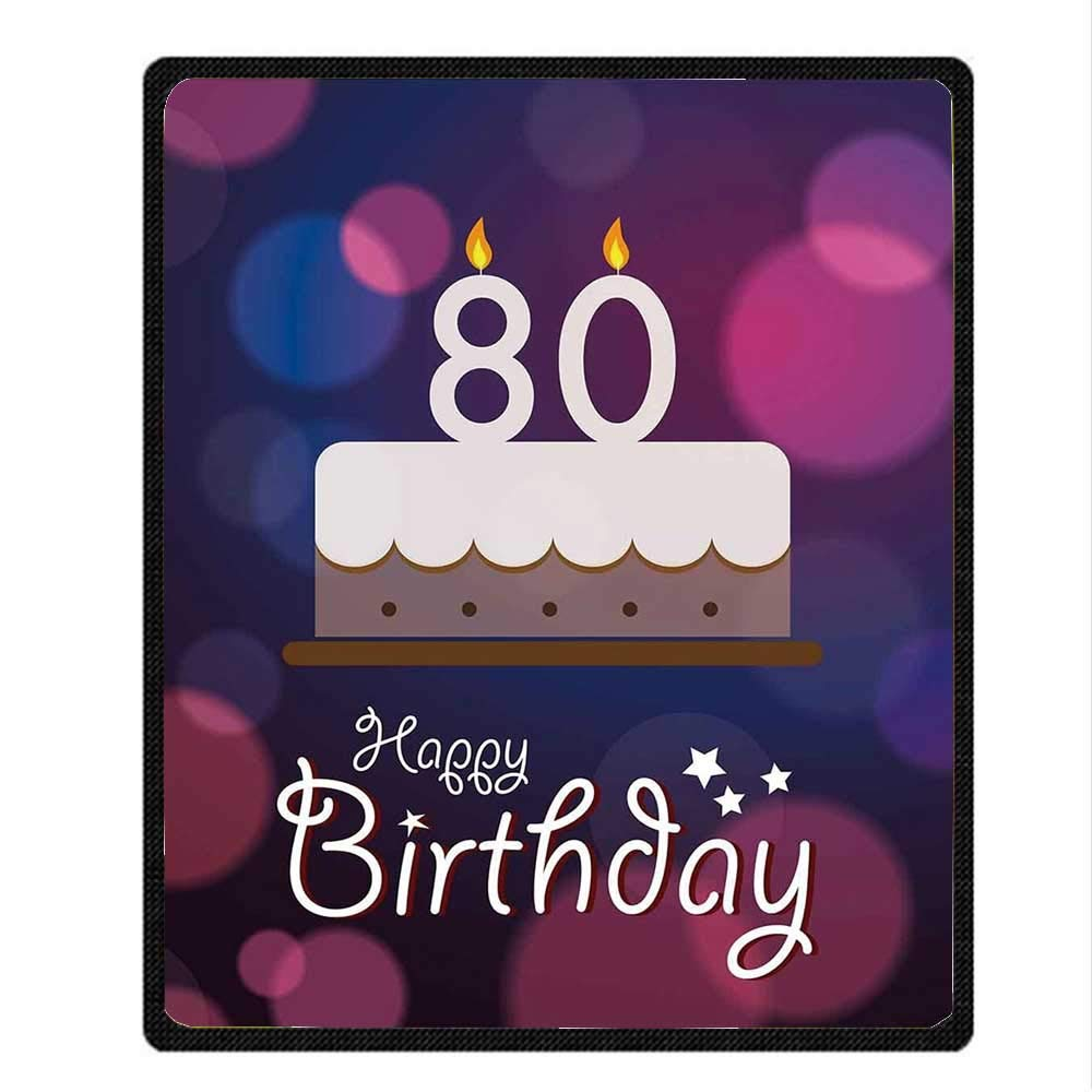 YOLIYANA 80th Birthday Decorations Beautiful Blanket,Abstract Backdrop with Birthday Party Cake and Candles for Office,59.06'' W x 78.74'' H