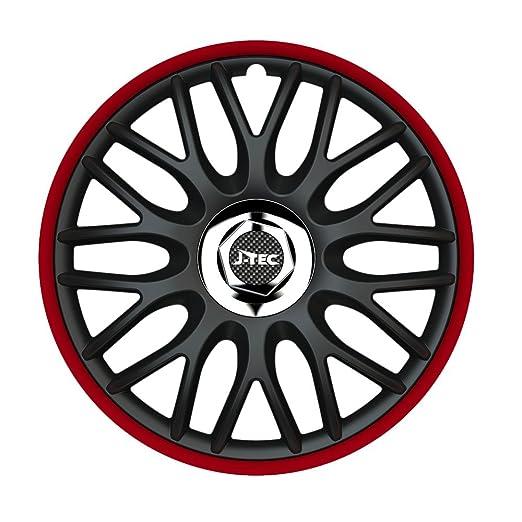 15 pulgadas tapacubos orden Red (R) (Negro - Borde en rojo). Tapacubos apto para Opel Vehículos: Amazon.es: Coche y moto