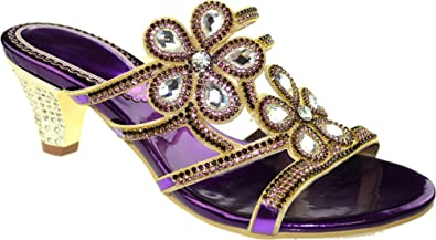 3f30d6b27 Vimedea Womens Purple Slippers Wedding Bride Party Prom Job Rhinestone Mid  Heel Slip on Open Toe