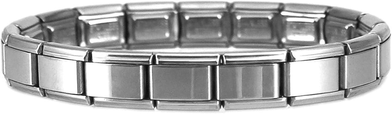 Classic Shiny 9mm Italian Charm Stainless Steel Modular 18 Link Starter Bracelet