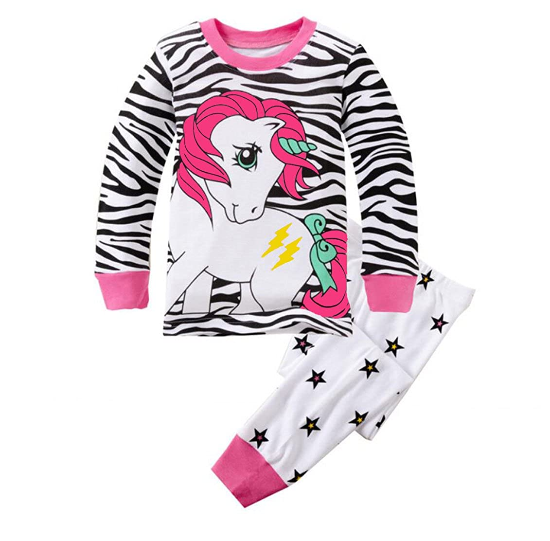 Gold treasure Little Kids Sleepwear Long Sleeve Pajama Set with Cartoon wihte Unicorn