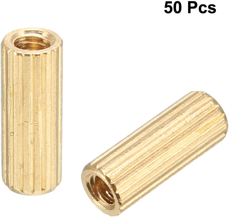 uxcell 50pcs Brass Round Straight PCB Pillar Female Thread Standoff Spacer M2x3x8mm