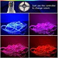 CARYLED 16.4ft 5M Waterproof Rope Lights 300 LED 5050 SMD Color Changing RGB Flexible LED Strip Light + 12V 6A Power Supply + Remote + IR Controller Muliticolored